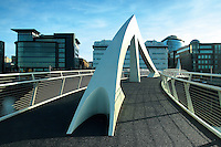The Tradeston Bridge, also known as The Squiggly Bridge, spanning the River Clyde, Glasgow<br /> <br /> Copyright www.scottishhorizons.co.uk/Keith Fergus 2011 All Rights Reserved