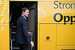 © Joel Goodman - 07973 332324 . 01/05/2015 . Manchester , UK . Nick Clegg leaves on the Liberal Democrat battle bus , after a Liberal Democrat party rally at Chorlton-cum-Hardy Golf Club . Liberal Democrat party leader Nick Clegg visits the constituency of Manchester Withington to deliver a speech on the NHS and campaign with local candidate John Leech . Photo credit : Joel Goodman
