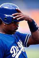 Eddie Murray of the Los Angeles Dodgers during a game at Dodger Stadium in Los Angeles, California during the 1997 season.(Larry Goren/Four Seam Images)