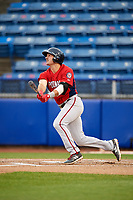 Potomac Nationals third baseman Jake Noll (13) follows through on a swing during the first game of a doubleheader against the Salem Red Sox on June 11, 2018 at Haley Toyota Field in Salem, Virginia.  Potomac defeated Salem 9-4.  (Mike Janes/Four Seam Images)