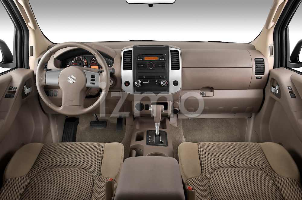 Straight dashboard view of a 2009 Suzuki Equator Extended Cab.