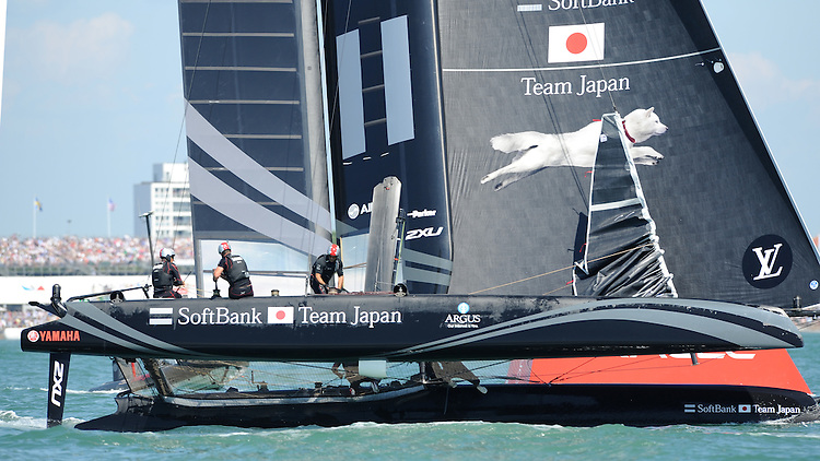 SoftBank Team Japan, JULY 23, 2016 - Sailing: Dean Barker CEO/Skipper of SoftBank Team Japan helms during day one of the Louis Vuitton America's Cup World Series racing, Portsmouth, United Kingdom. (Photo by Rob Munro/AFLO)