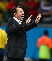 Belgium coach Marc Wilmots celebrates his sides second goal