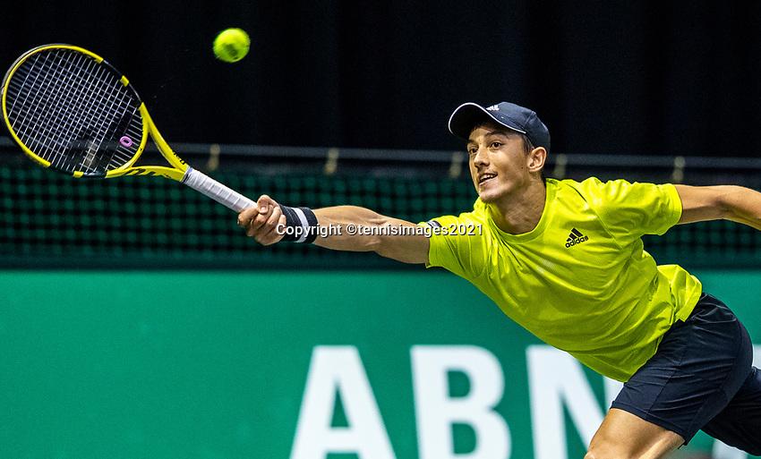 Rotterdam, The Netherlands, 27 Februari 2021, ABNAMRO World Tennis Tournament, Ahoy, Qualyfying match: Antoine Hoang (FRA)<br /> Photo: www.tennisimages.com/henkkoster
