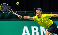 Rotterdam, The Netherlands, 27 Februari 2021, ABNAMRO World Tennis Tournament, Ahoy, Qualyfying match: Antoine Hoang (FRA)<br /> Photo: www.tennisimages.com/henkkoster