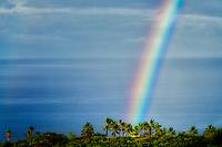 Rain storm with rainbow. Kohala Coast. Hawaii, the big island. The Island of Hawaii