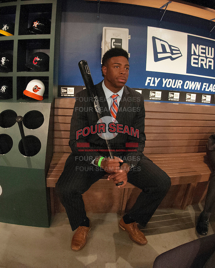 Outfielder Monte Harrison (Lee's Summit West H.S. (MO)) the number 50th overall pick to the Milwaukee Brewers during the MLB Draft on Thursday June 05,2014 at Studio 42 in Secaucus, NJ.   (Tomasso DeRosa/ Four Seam Images)
