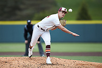 Virginia Tech Hokies starting pitcher Anthony Simonelli (34) in action against the Georgia Tech Yellow Jackets at English Field on April 17, 2021 in Blacksburg, Virginia. (Brian Westerholt/Four Seam Images)