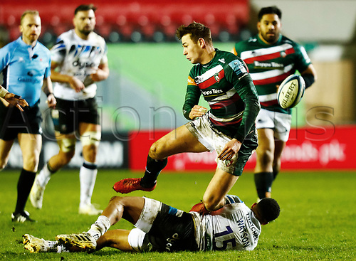 3rd January 2021; Welford Road Stadium, Leicester, Midlands, England; Premiership Rugby, Leicester Tigers versus Bath Rugby; Freddie Steward of Leicester Tigers is brought down by Anthony Watson of Bath Rugby
