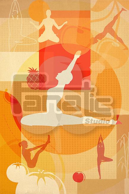 Montage illustration of yoga postures