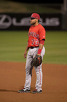 Los Angeles Angels first baseman Jose Rojas (73) during a Minor League Spring Training game against the Milwaukee Brewers at Tempe Diablo Stadium on March 29, 2018 in Tempe, Arizona. (Zachary Lucy/Four Seam Images)