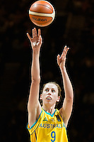 Melbourne, 15 August 2015 - Natalie BURTON of Australia takes a free throw in game one of the 2015 FIBA Oceania Championships in women's basketball between the Australian Opals and the New Zealand Tall Ferns at Rod Laver Arena in Melbourne, Australia. Aus def NZ 61-41. (Photo Sydney Low / sydlow.com)
