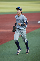 Old Dominion Monarchs second baseman Carter Trice (4) jogs off the field between innings of the game against the Charlotte 49ers at Hayes Stadium on April 23, 2021 in Charlotte, North Carolina. (Brian Westerholt/Four Seam Images)
