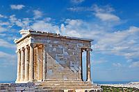 The Temple of Athena Nike Apteros (427 B.C.) on the Athenian Acropolis, Greece