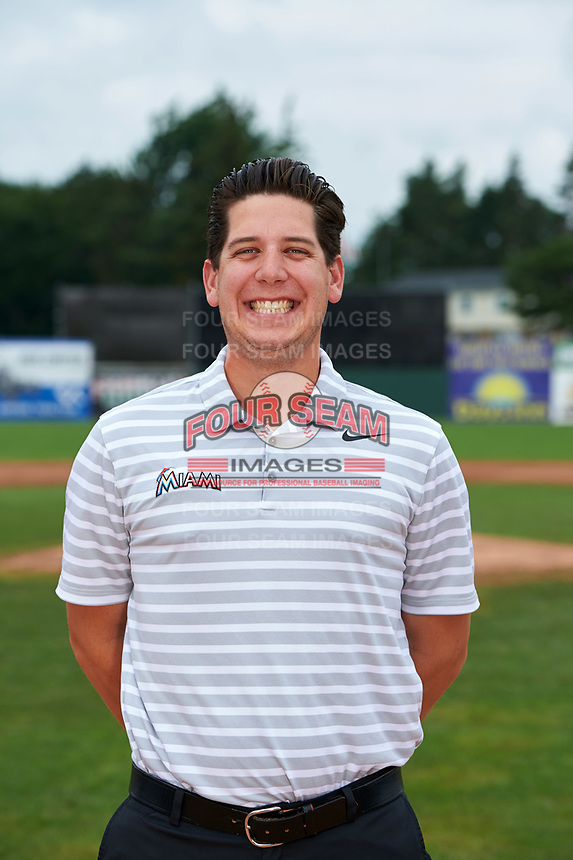 Batavia Muckdogs trainer Eric Reigelsberger poses for a photo before a game against the Tri-City ValleyCats on July 15, 2017 at Dwyer Stadium in Batavia, New York.  Tri-City defeated Batavia 5-4.  (Mike Janes/Four Seam Images)