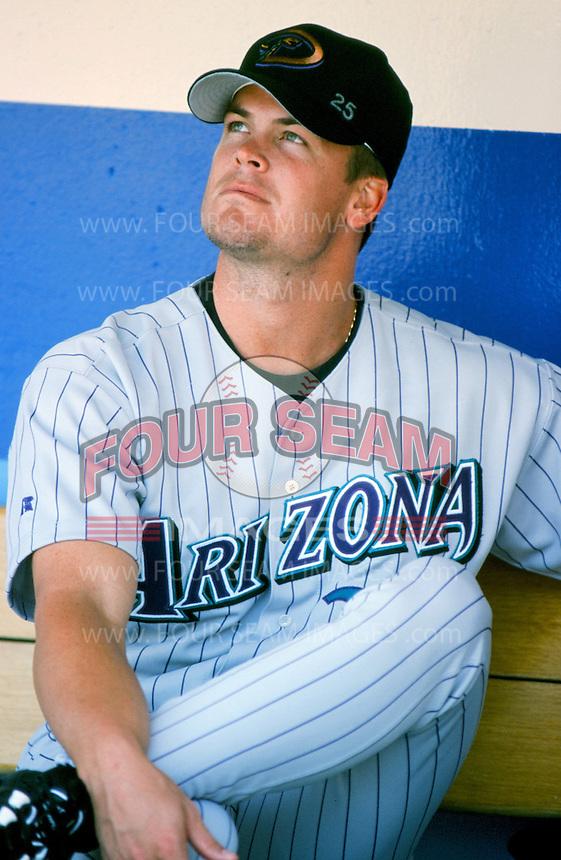 Matt Mantei of the Arizona Diamondbacks before a 1999 season Major League Baseball game against the Los Angeles Dodgers at Dodger Stadium in Los Angeles, California. (Larry Goren/Four Seam Images)