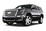 Stock pictures of low aggressive front three quarter view of 2017 Cadillac Escalade Luxury 5 Door SUV Low Aggressive