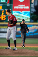 Umpire Sean Shafer-Markle calls a balk on pitcher James Marvel during an Eastern League game between the Altoona Curve and Erie SeaWolves on June 3, 2019 at UPMC Park in Erie, Pennsylvania.  Altoona defeated Erie 9-8.  (Mike Janes/Four Seam Images)