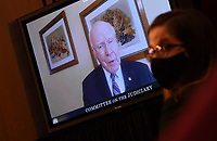 United States Senator Patrick Leahy (Democrat of Vermont) speaks remotely during a Senate Judiciary Committee confirmation hearing on the nomination of Amy Coney Barrett for Associate Justice of the Supreme Court, on Capitol Hill in Washington, DC on Thursday, October 15, 2020.  If confirmed, Barrett will replace Justice Ruth Bader Ginsburg, who died last month.<br /> Credit: Kevin Dietsch / Pool via CNP /MediaPunch
