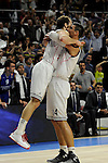 Real Madrid´s Gustavo Ayon and Sergio Rodriguez during 2014-15 Euroleague Basketball Playoffs second match between Real Madrid and Anadolu Efes at Palacio de los Deportes stadium in Madrid, Spain. April 17, 2015. (ALTERPHOTOS/Luis Fernandez)
