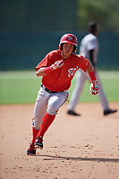 GCL Nationals center fielder Ricardo Mendez (16) running the bases during the first game of a doubleheader against the GCL Marlins on July 23, 2017 at Roger Dean Stadium Complex in Jupiter, Florida.  GCL Nationals defeated the GCL Marlins 4-0.  (Mike Janes/Four Seam Images)