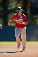 Tyler Keenan (22) of Cleveland High School in Clayton, North Carolina playing for the St. Louis Cardinals scout team at the South Atlantic Border Battle at Doak Field on November 2, 2014.  (Brian Westerholt/Four Seam Images)