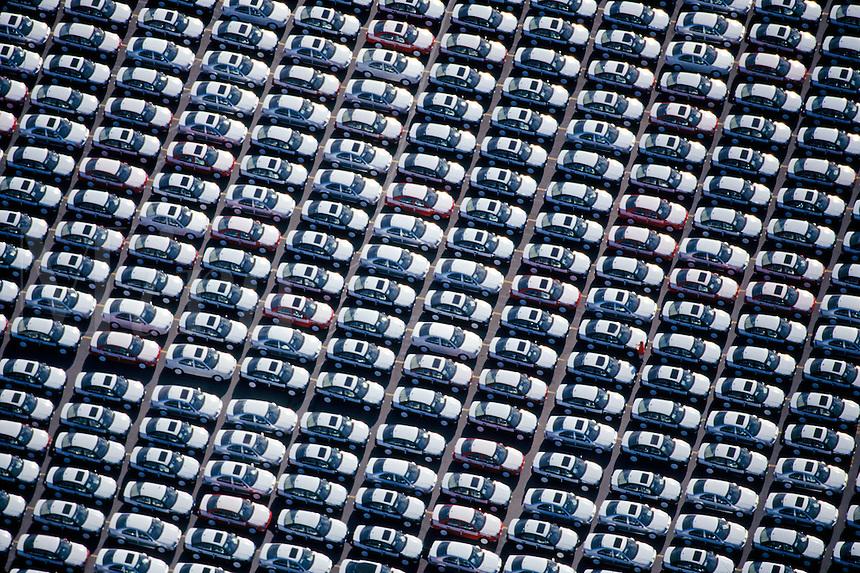 New Volkswagen cars on dock Boston MA