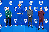 STANFORD, CA - March 7, 2020: Joshy Cortez of Cal Poly, Russell Rohlfing of Cal State Bakersfield, Requir ven der Merwe of Stanford, and Joshua Maruca of Arizona State University during the 2020 Pac-12 Wrestling Championships at Maples Pavilion.