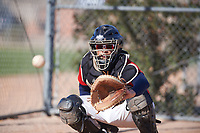 Guillermo Matos (47), from San Francisco, California, while playing for the Red Sox during the Under Armour Baseball Factory Recruiting Classic at Red Mountain Baseball Complex on December 29, 2017 in Mesa, Arizona. (Zachary Lucy/Four Seam Images)