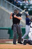 Umpire Lee Meyers during a game between the San Antonio Missions and NW Arkansas Naturals on May 31, 2015 at Arvest Ballpark in Springdale, Arkansas.  NW Arkansas defeated San Antonio 3-1.  (Mike Janes/Four Seam Images)