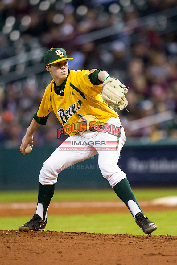 Baylor Bears pitcher Nick Lewis (3) delivers a pitch to the plate during the Houston College Classic against the Texas A&M Aggies on March 8, 2015 at Minute Maid Park in Houston, Texas. Texas A&M defeated Baylor 3-2. (Andrew Woolley/Four Seam Images)