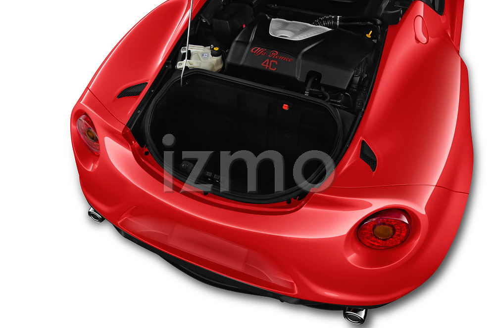 Car stock 2019 Alfa Romeo 4C Spider 2 Door Convertible engine high angle detail view