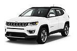 2018 Jeep Compass Limited 4WD 5 Door SUV angular front stock photos of front three quarter view
