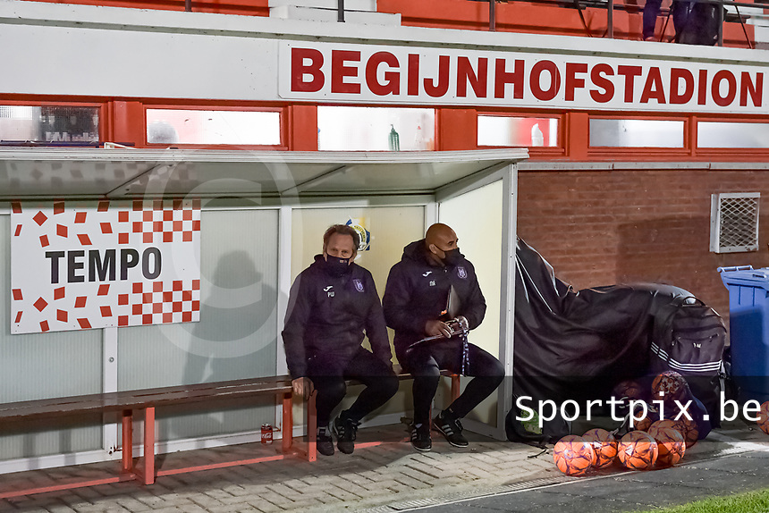 Anderlecht head coach Patrick Wachel and Anderlecht assistant coach Miguel Atilio pictured during a female soccer game between RSC Anderlecht Dames and AA Gent Ladies on the seventh matchday of the 2020 - 2021 season of Belgian Womens Super League , friday 13 th of November 2020  in Overijse , Belgium . PHOTO SPORTPIX.BE | SPP | STIJN AUDOOREN