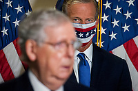 United States Senator John Thune (Republican of South Dakota), watches as US Senate Majority Leader Mitch McConnell (Republican of Kentucky), is joined by Senate GOP leadership as he offers remarks and fields questions from reporters following the GOP luncheon in the Hart Senate Office Building on Capitol Hill in Washington, DC., Tuesday, September 15, 2020. <br /> Credit: Rod Lamkey / CNP /MediaPunch