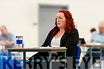 Cllr Deirdre Ferris at the Kerry County Council meeting which was held at the Kerry Sports Acadamy building at the IT Tralee campus due to Covid-19 restrictions.