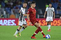 23rd September 2021;  Stadio Olimpicom, Roma, Italy; Serie A League Football, Roma versus Udinese; Riccardo Calafiori of AS Roma passes thorugh midfield