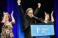 Valerie Plante et Projet Montreal remportent l'election municipale contre Denis Coderre, le 5 novembre 2017.<br /> <br /> en photo :Francois-William Croteau
