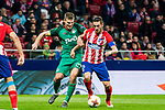 Jorge Resurreccion Merodio, Koke (R), of Atletico de Madrid fights for the ball with Igor Denisov of FC Lokomotiv Moscow during the UEFA Europa League 2017-18 Round of 16 (1st leg) match between Atletico de Madrid and FC Lokomotiv Moscow at Wanda Metropolitano  on March 08 2018 in Madrid, Spain. Photo by Diego Souto / Power Sport Images