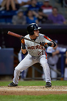 Aberdeen Ironbirds Joseph Ortiz (27) shows bunt during a NY-Penn League game against the Staten Island Yankees on August 22, 2019 at Richmond County Bank Ballpark in Staten Island, New York.  Aberdeen defeated Staten Island 4-1 in a rain shortened game.  (Mike Janes/Four Seam Images)
