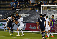 KANSAS CITY, KS - OCTOBER 07: #22 Winston Reid of Sporting Kansas City heads the ball off a corner kick to give Sporting KC the lead during a game between Chicago Fire and Sporting Kansas City at Children's Mercy Park on October 07, 2020 in Kansas City, Kansas.