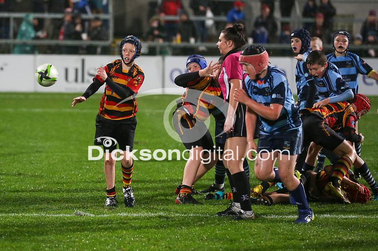 Friday 1st November 2019   Ulster Rugby vs Zebre Rugby<br /> <br /> Mini-Rugby at halftime during the PRO14 Round 5 clash between Ulster Rugby and Zebre Rugby at Kingspan Stadium, Ravenhill Park, Belfast, Northern Ireland. Photo by John Dickson / DICKSONDIGITAL