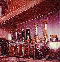 Still Life with Spice Jars - Polaroid SX-70 - paiterly hand-painted photography