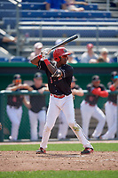 Batavia Muckdogs shortstop Demetrius Sims (3) at bat during a game against the Auburn Doubledays on September 1, 2018 at Dwyer Stadium in Batavia, New York.  Auburn defeated Batavia 10-5.  (Mike Janes/Four Seam Images)