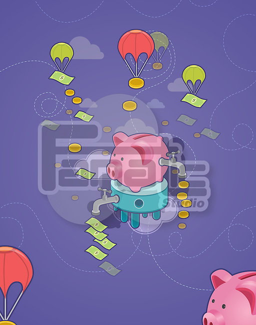 Illustrative shot of piggy bank with tap and flying parachute depicting concept of cash flow and money management