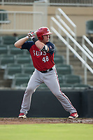 Jakson Reetz (48) of the Hagerstown Suns at bat against the Kannapolis Intimidators at Kannapolis Intimidators Stadium on July 10, 2017 in Kannapolis, North Carolina.  The Suns defeated the Intimidators 8-5.  (Brian Westerholt/Four Seam Images)
