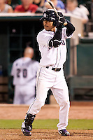 August 7,2010 Kazuo Matsui (7) in action during the MiLB game between the New Orleans Zephyrs and the Colorado Springs Sky Sox at Security Service Field in Colorado Springs Colorado.