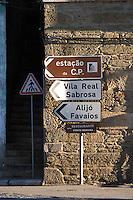road sign pinhao douro portugal