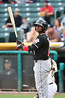 Carlos Triunfel (8) of the Albuquerque Isotopes at bat against the Salt Lake Bees at Smith's Ballpark on April 21, 2014 in Salt Lake City, Utah.  (Stephen Smith/Four Seam Images)