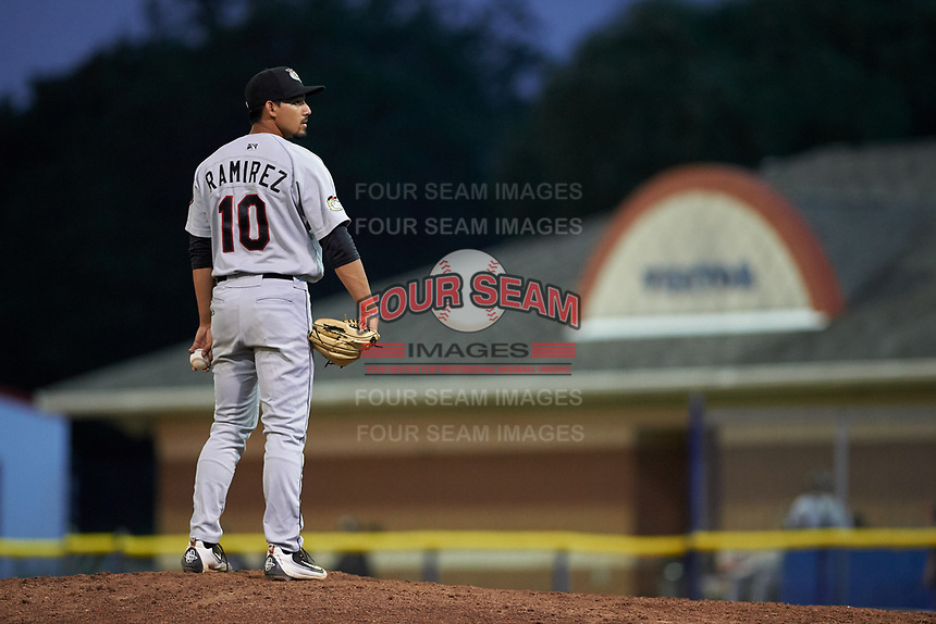 Tri-City ValleyCats relief pitcher Luis Ramirez (10) looks in for the sign during a game against the Batavia Muckdogs on July 14, 2017 at Dwyer Stadium in Batavia, New York.  Batavia defeated Tri-City 8-4.  (Mike Janes/Four Seam Images)